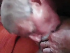 Mustache grandpa sucks and swallow cum
