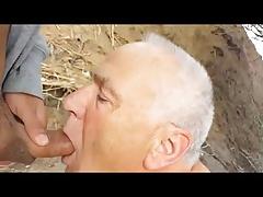 Grandpa blows it outdoor