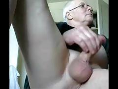 grandpa stroke on cum (no cum)