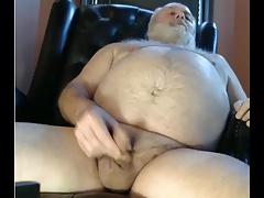 bear grandpa stroke and cum on cam