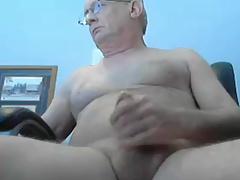 grandpa long stroke and cum on cam