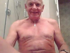 grandpa stroke stroke with  a dildo in ass and cum