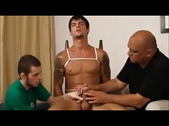 Restrained gay handjob