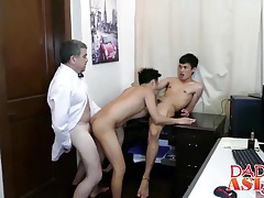 Daddy and two asian twinks in the office
