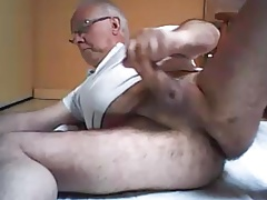 grandpa play and stroke on cam