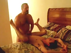 Hot Muscle Daddy Fuck and Jerk Off Young Man