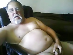 grandpa play with a toy and cum