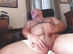Hairy Mature Man Cums on Cam
