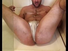 Self golden shower in panties