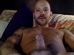 Sexy Horny Tattoo Daddy Wanks & Cums On Cam