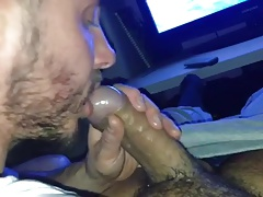 Bear with big cock getting a great blowjob