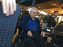 Oldman Tuching Himself in Public Bar