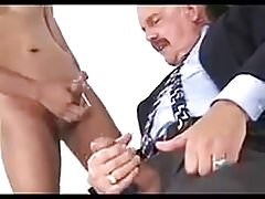 Old daddy and young boy cum