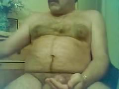 Moustache daddy stroking