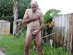 Bruce masturbates wearing a cock crimper