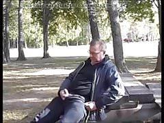 Jack and cum in public