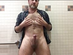Hairy Daddy Strips and Strokes His Hard Cock