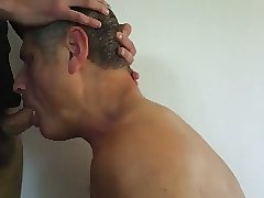Face fucking daddy and cumming down his throat