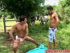 Muscled gay jocks outdoor banging