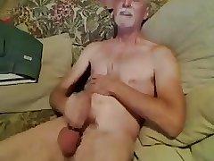 Slim daddy jerk off