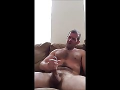 Verbal White Semen Shooter Sprays Load Across Hairy Chest