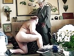 Older guy with big cock get's sucked  in the living room