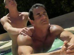 Gay group anal Daddy Poolside Prick Loving