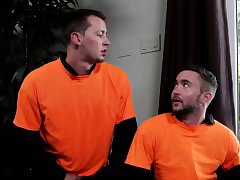 Muscular inmates pounding each other