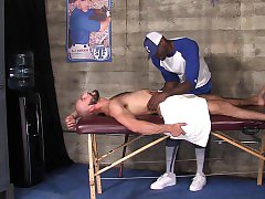 Buff black masseur jizzes