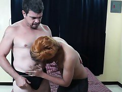 Doggystyling daddys hard cock jerked off