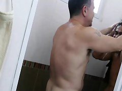 Older dude enjoys in a gay bathroom sex with cute horny Jap