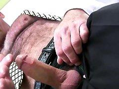 Mature bear cums tugging