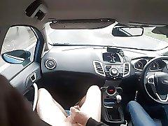 Nude in car getting handjob