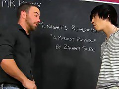 Tyler demands a taste of his teachers big uncut cock