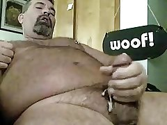 Bear stroking his cock