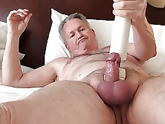 Daddy with vibrator play and cum
