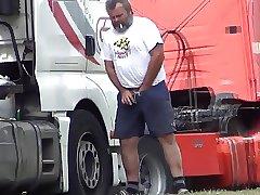Daddy bear trucker pissing