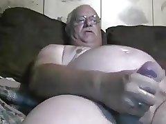 Chubby daddy handjob and cum