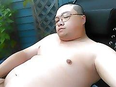 Chubby Guy's 34th cumshot sunbathing