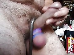 Dick jacking crow bar hanging from dick shaft as a weight