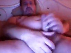 Brit dad on web camera discharges sex cream