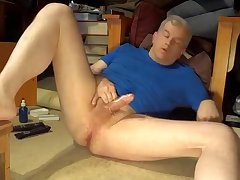 Silver Daddy masturbating