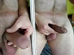 Horny curved hard dick in mirror play so sexy