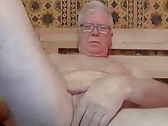 grandpa stroke and play with a dildo on webcam