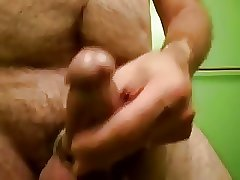 Cum shot rubber band around dick & balls thick load