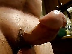 Curved hard dick jack off pre cum drip