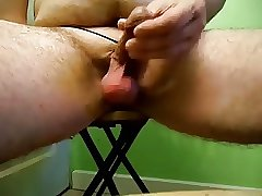 Saggy balls & small dick play on stool