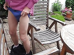 German daddy wanking in the backyard