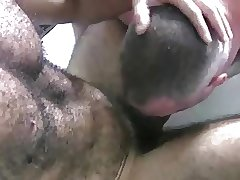 Hairy daddy gets a BJ