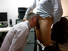 Daddy sucking cock at the office after work with facial